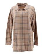 Cuddl Duds Comfortwear Half Zip Pullover Oatmeal Plaid L NEW A310292 - $27.70