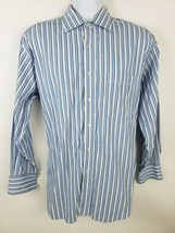 Tommy Hilfiger Blue Striped Long-sleeve Button Front Mens Shirt Size L 1... - $17.81