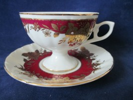 Lefton China Footed Tea Cup Saucer 07685 Maroon Red Band Gold Roses 1990 - $40.00