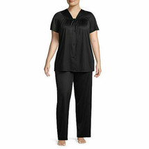 Lissome Lounge Polytricot Black Short Sleeve Pajama Set Plus Size 4X - $18.18