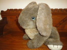 Gund Vintage 1985 Brown Sitting Bunny Rabbit Suede Paws Blue Eyes - $86.85