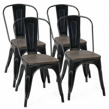 18 Inch Height Set of 4 Stackable Style Metal Wood Dining Chair-Black - ... - $309.42