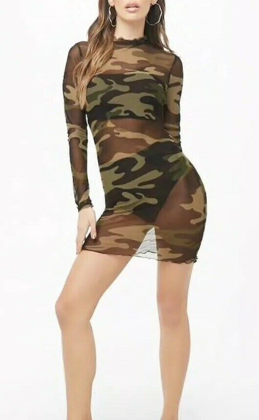 Forever 21 Transparent Mesh Camouflage Print Sexy Long Sleeved Dress Collar M