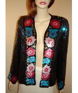JUDITH ANN CREATIONS Open Front Iridescent Sequined Floral Silk Evening ... - $146.90