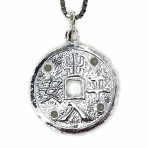 White gold on silver pendant round fortune and protection - $49.03