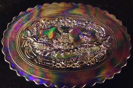 Vintage IMPERIAL GLASS Blue Carnival Windmill Pattern Oval Dresser Tray ... - $35.66