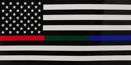 USA Police Military and Fire Thin Line  Red Green Blue Decal Bumper Sticker - $5.55