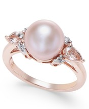 Solid 14K Rose Gold Genuine Pink Pearl Morganite Diamond Accent Ring Size 4 - $1,199.00