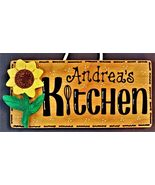 Personalize SUNFLOWER KITCHEN Name SIGN Wall Hanger Hanging Plaque Count... - $26.99
