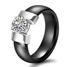 Trendy Ceramic Stainless Steel Prong 1ct Cubic Zirconia Solitaire  Wedding Ring image 2