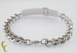 """Sterling Silver and 14k Yellow Gold D&B Heavy Curb Link ID Bracelet 8"""" Long - $237.60"""