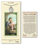 Saint Joseph - Prayer Card with Medal and Chain - Pewter   - $26.99