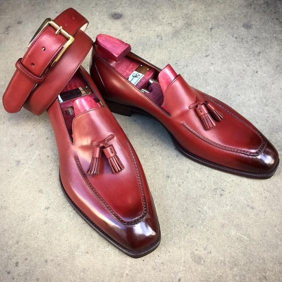 Primary image for Tassel Loafer Slip Ons Maroon Red Handcrafted Genuine Leather Party Wear Shoes
