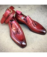 Tassel Loafer Slip Ons Maroon Red Handcrafted Genuine Leather Party Wear Shoes - $99.99 - $129.99