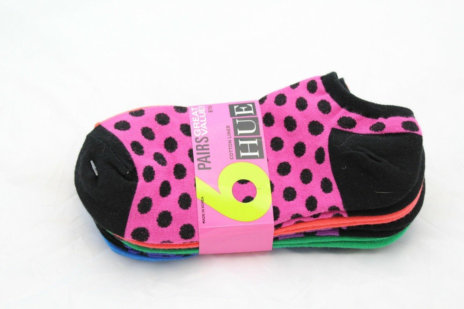 HUE 6-pairs Cotton Liner Socks Fusion Pink Dots