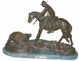 """""""Double Trouble"""" Solid Bronze Statue Handmade Sculpture Inspired By Frederic Rem - $979.95"""