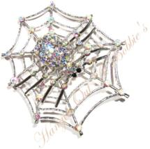 Spider Web Pin Brooch Bold AB Crystal Spiderweb Silvetone Metal Autumn H... - $39.99