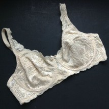 Barely Breezies Beige Lace Bra Underwire Full Coverage Style A6966 Size 40C - $6.93