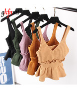 Sexy Stretchable Knit V Neck Crop Cami Tops Summer Style 2017 Vogue Plai... - $18.00