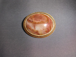 VTG Gold Tone Italian Marble Cabochon Pin Brooch - $49.50