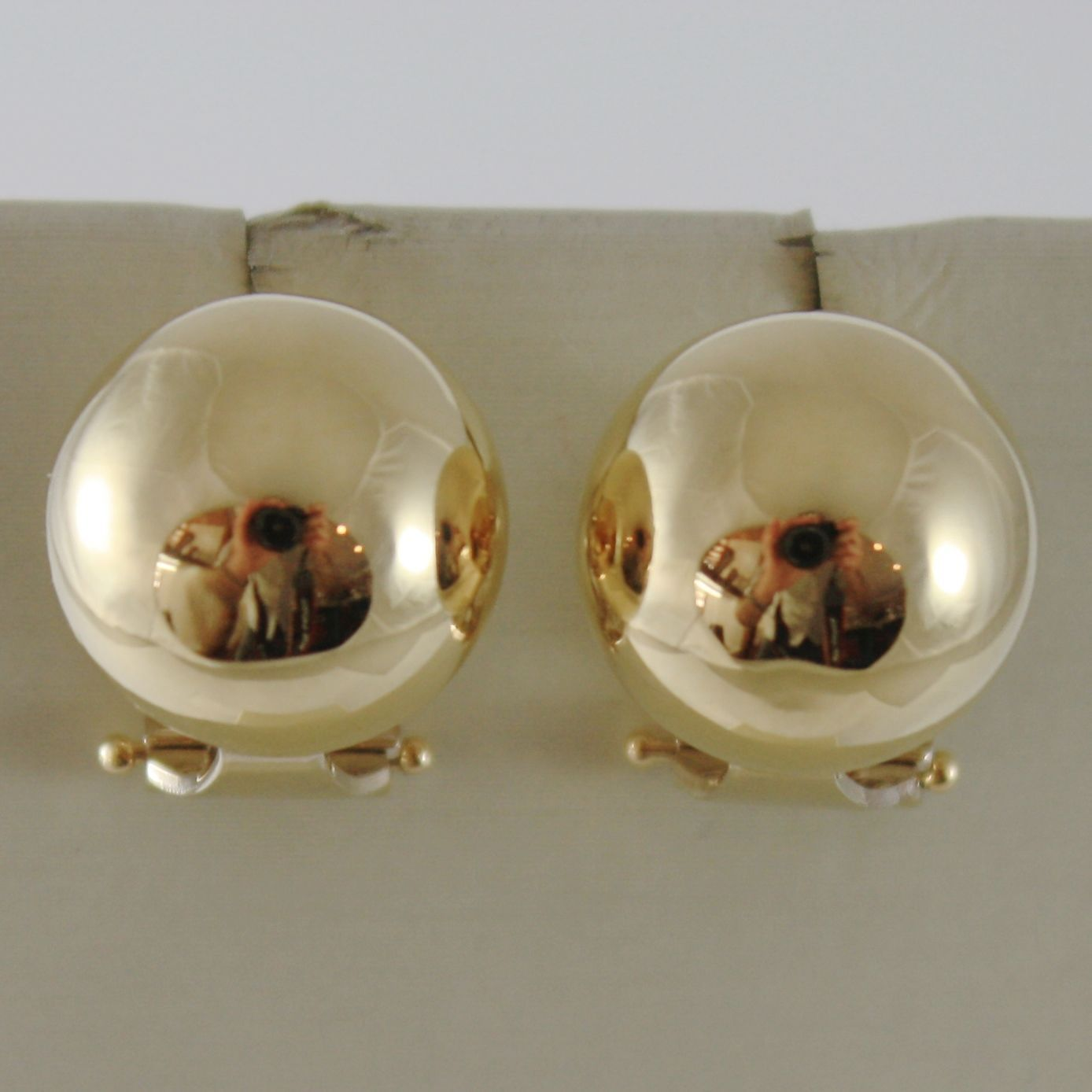 SOLID 18K YELLOW GOLD EARRINGS HALF BALL BALLS, 13 MM DIAMETER, MADE IN ITALY