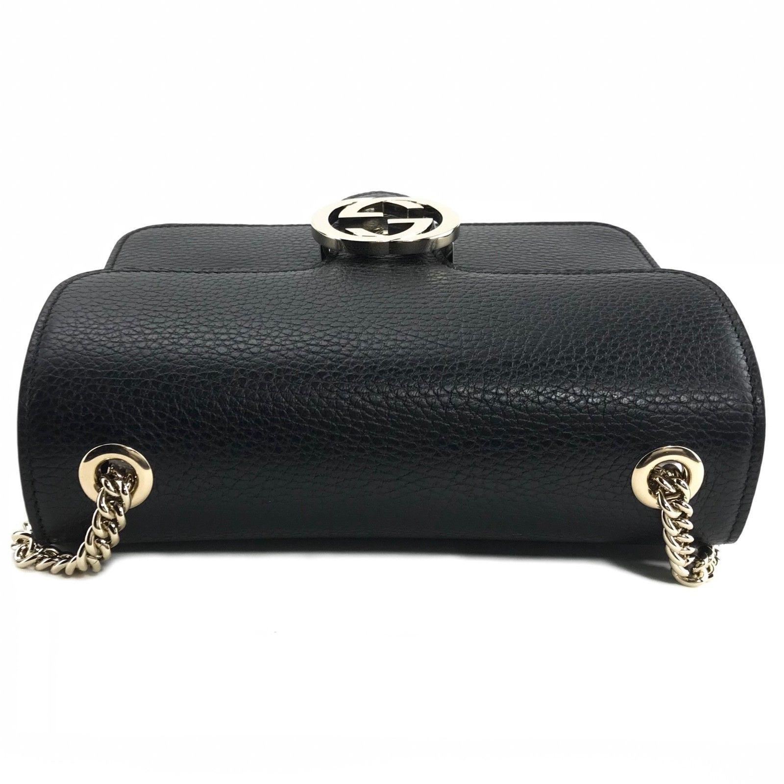 e501ba1ee NWT GUCCI 510304 Interlocking Leather Chain Crossbody Bag, Black