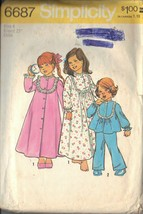 SIMPLICITY PTRN 6687 DATED 1974 SZ 4 GIRL'S BATHROBE, NIGHTGOWN AND PAJAMAS - $3.90