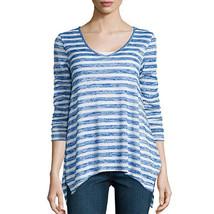 a.n.a Long-Sleeve V-Neck Stripe Shirt Size XS Santorini Blue New Msrp $36.00 - $12.99