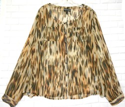 Newport News Size XL Animal Print 7 Button Front Collarless Long Sleeve ... - $15.55