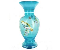 "Vintage Fenton 1985-HP Tropical Bird On Grape Vine Opalescent Blue Vase 8.5"" - $179.99"