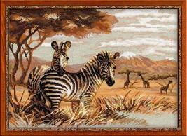 Cross Stitch Kit Riolis Zebras in the Savannah - $34.00