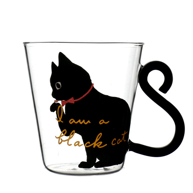 Primary image for Hand Grip Heat-Resistant Cute Creative Cat Kitty Glass Mug Cup Gift 400-500ml