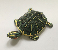 small turtle figurine bright colors green yellow resin beach house coast... - $12.17