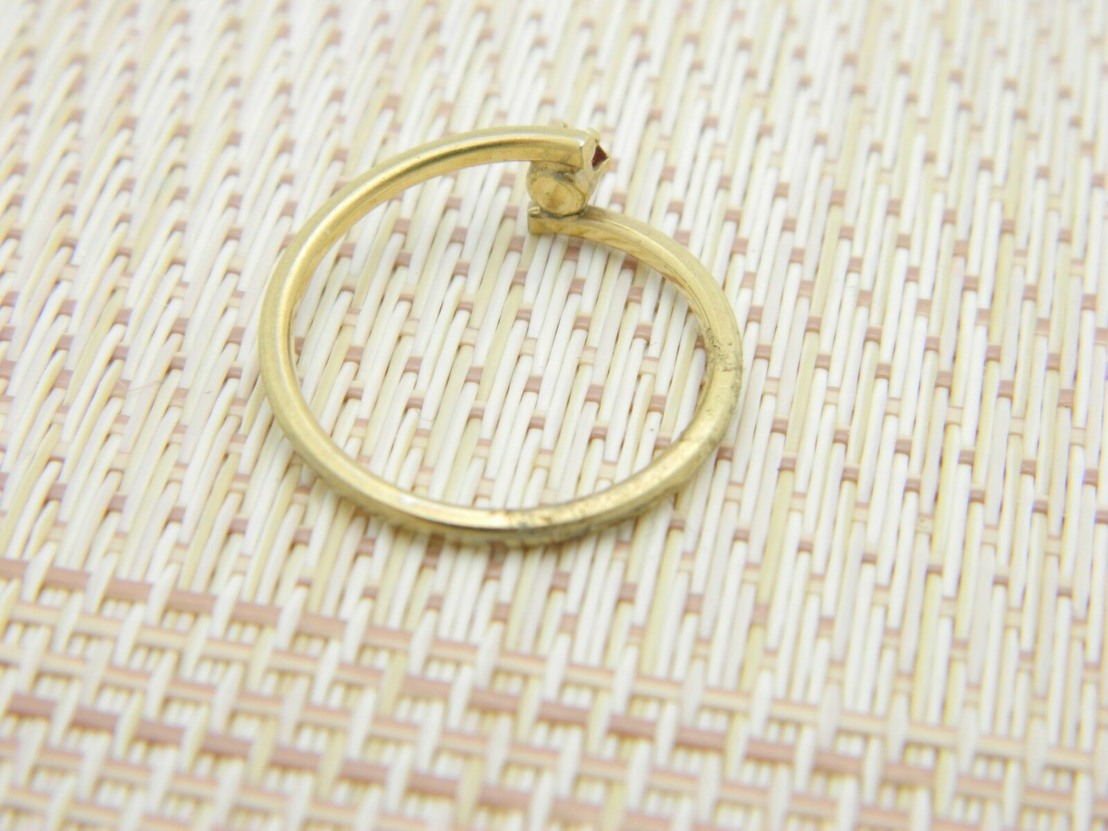 AVON Gold Tone Red Rhinestone Dainty Ring Adjustable Size 7.25 Vintage image 4