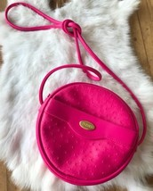 Vintage Handbag Faux Leather Bright Pink Round Shape 80s Fashion - $44.44