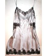 New NWT Designer Josie Natori Silk Lace Womens M Silver Purpl Chemise Go... - $256.75