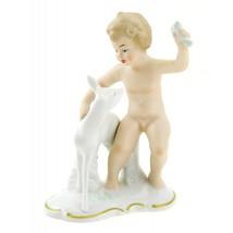 Wallendorf Porcelain Cherub Figurine with Fawn - $79.44