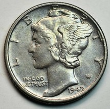 1942/1 Key Date Silver Mercury Dime 10¢ Coin Lot# A661 image 1