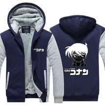 Detective Conan Hoodie warm Winter Coat Men  Casual Thicken Sweatshirts Jacket  - $55.99