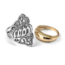 Carolyn Pollack Sterling Silver and Brass 3 Piece Guard Ring Set Size 5 ... - $38.99