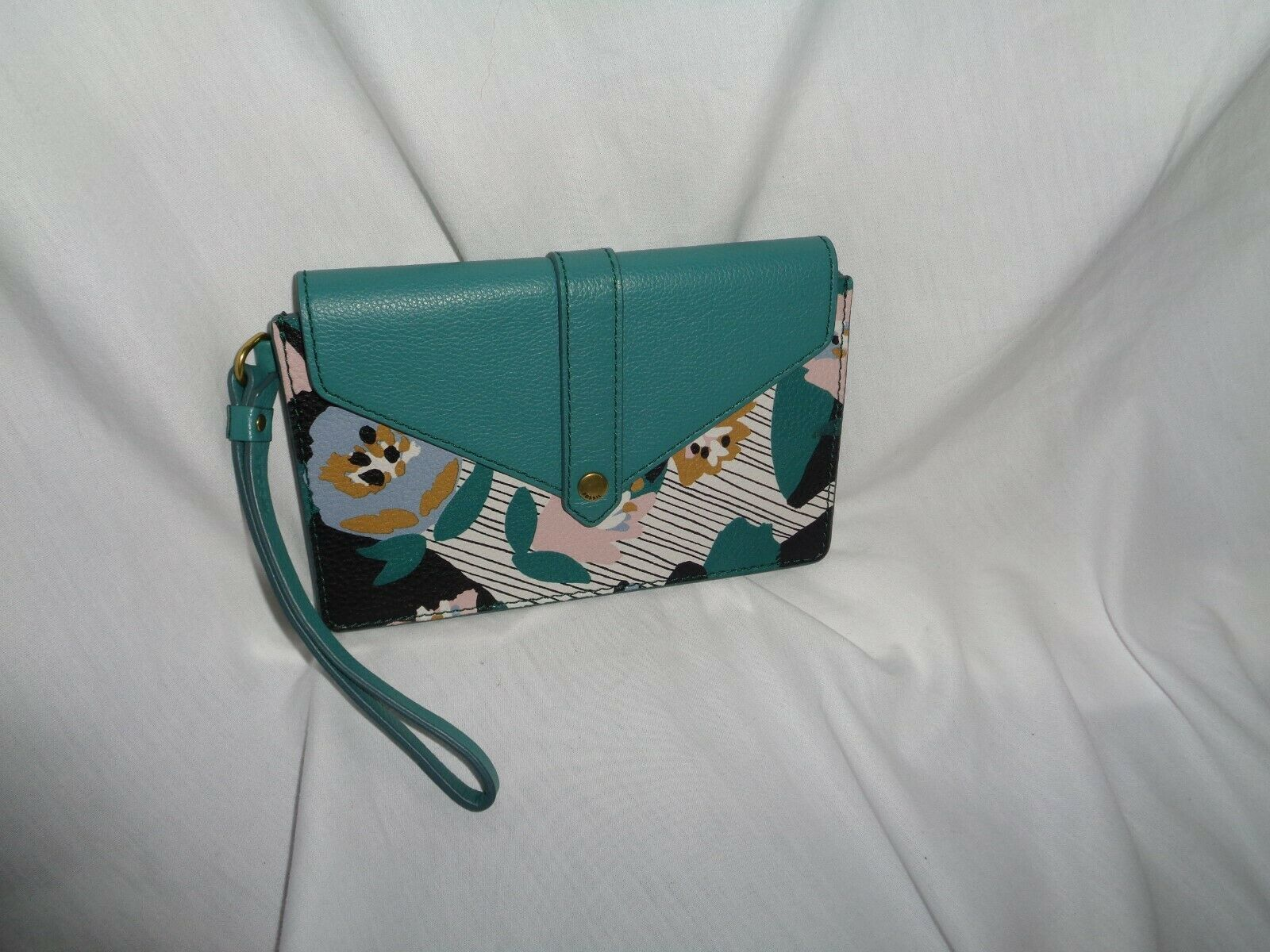 FOSSIL SOFIA PHONE CARD CASE WALLET WRISTLET CLUTCH BLUE FLORAL LEATHER