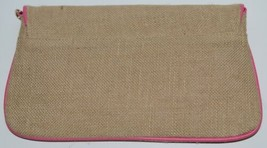WB B825BHTPK Burlap Clutch Purse Pink Trim Snap Closure image 2