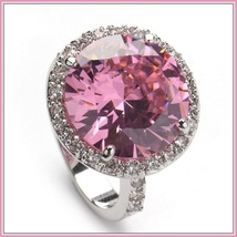 Pink Round Princess Cut Cubic Zirconia Crystal Encircled 925 Silver Plated Ring image 2