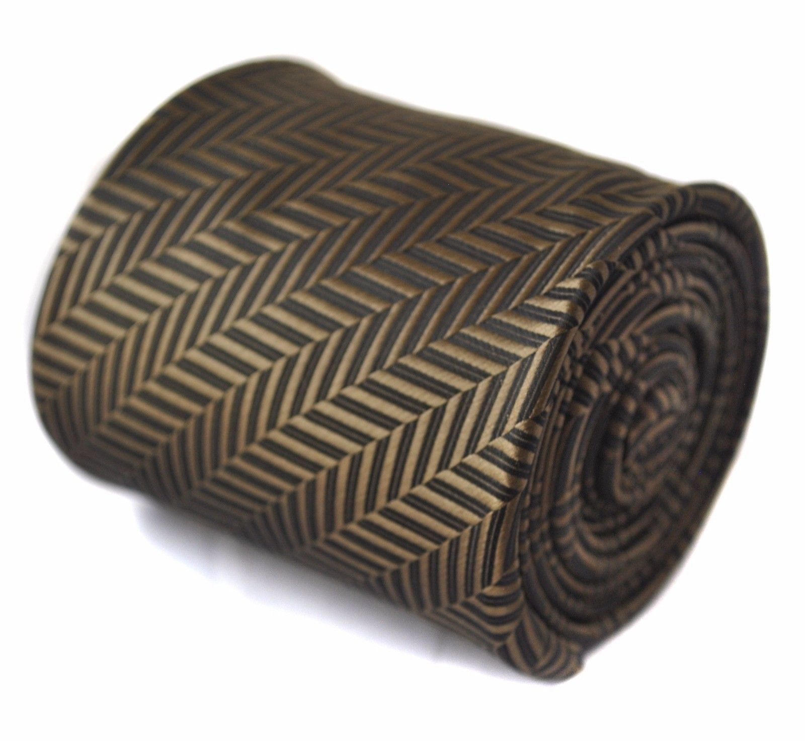 Frederick Thomas bronze brown herringbone mens tie FT1514