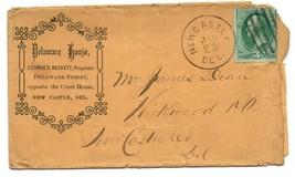 Antique Postal Cover Advertising Envelope : 1870s Delaware House , New C... - $25.00