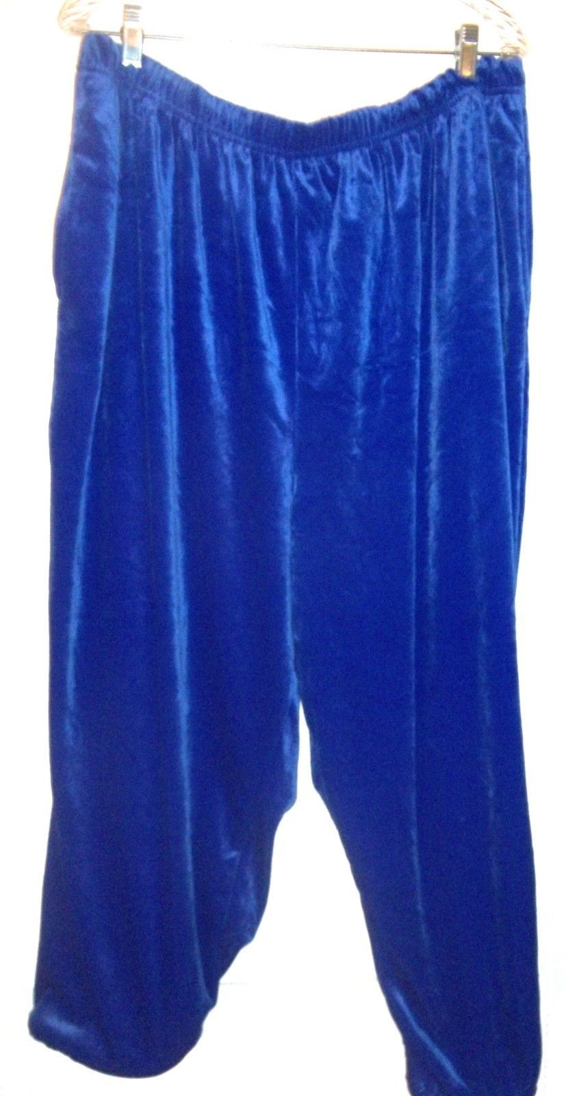 Plus Size 2X - Jaclyn Smith Royal Blue Velvet Capri Pants w/Rolled Bottoms