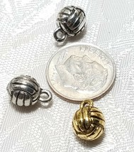 VOLLEYBALL 3D FINE PEWTER PENDANT CHARM - 8mm L x 11mm W x 8mm D image 2