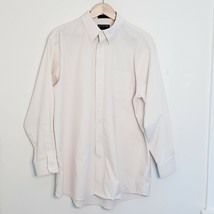 Stafford Ivory Cream Oxford Shirt Cotton Blend Regular Fit Size 17 1/2 3... - $9.64