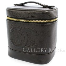 CHANEL Vanity Bag Caviar Leather Black Cosmetic Pouch A01998  Authentic ... - $927.06