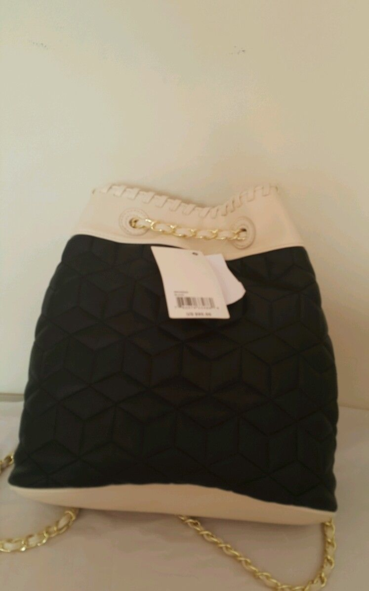 NWT Big Buddha Blk/Cream Gold Tone Chains Ladies Backpack BBO09505 image 2